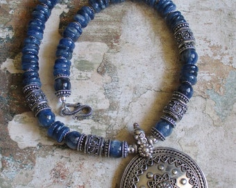 Pacific Waves -- AA Kyanite genuine Sterling bali necklace