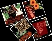 "Tiki Island Coasters - Hawaiian Theme - Black Background - GREAT Gift Idea - Ceramic Tile & Barkcloth -- Set of 4 -- approx 4"" x 4"""
