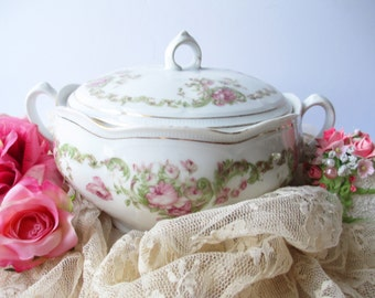 Covered Dish Pink Green Rose Small - Vintage Shabby Sweet