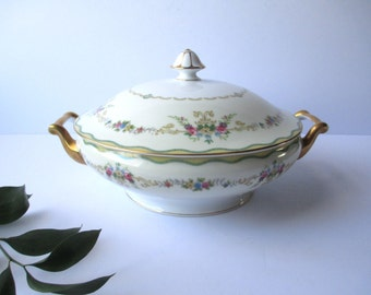 Vintage Noritake China Pink Floral Covered Serving Bowl