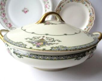 Vintage Japan Pink Blue Floral Covered Serving Bowl