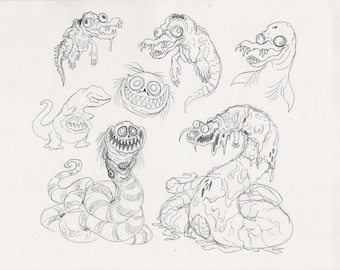 Original Mortasheen horror monster drawings - Snakes and Dolphins