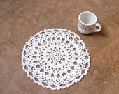French Country White Crochet Lace Doily, Table Decor, New Home Accessory