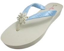 Design your own wedding Vintage Flower Rhinestone Flip Flops! Choose heel height, Millennium Blue- ivory white wedge, bride bridesmaids