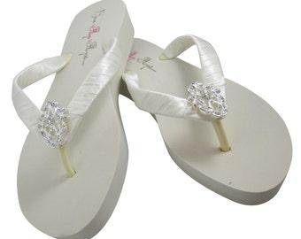 Vintage lace rhinestone Bridal Wedge Flip Flops/ Ivory Bling Satin White Jewel Bride Wedding Ribbon/ platform brides, bridesmaids