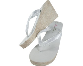 White with Champagne Wedges in Glitter, Sparkly Bridal Flip Flop Platforms - or White Champagne and Silver - Choose heel height