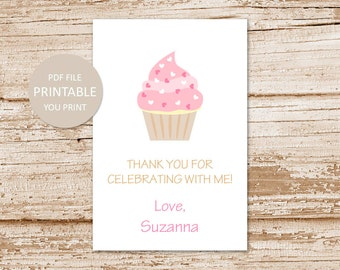 PRINTABLE cupcake favor tags . pink cupcake favor stickers . happy birthday tags . thank you tags . You Print