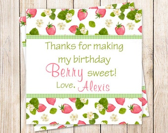PRINTABLE strawberry favor tags . birthday party favor tags . strawberries stickers . thank you tags . gift tags . You Print