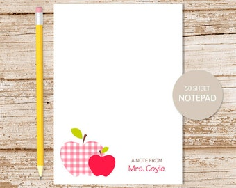 personalized teacher notepad . apple notepad . teacher note pad . personalized stationery, stationary . teacher gift