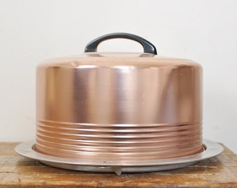 Vintage Aluminum Cake Locking Carrier Copper Colored Black Handle Regal Ware