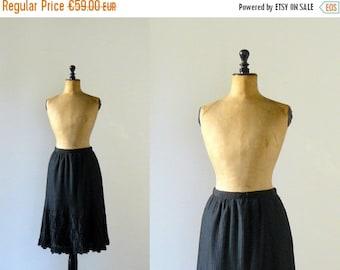 40% OFF SALE // Vintage 1960s black pleated embroidered skirt