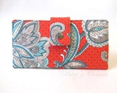 Handmade women wallet - Orange with grey and aqua flowers - white details - Ready to ship - ID clear pocket - Gift ideas for her