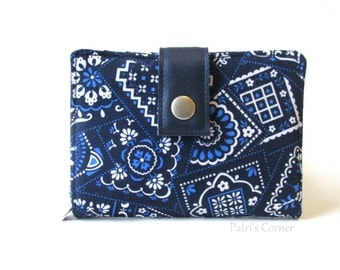 Handmade women wallet - small and slim - small bandana - navy and white details - ID clear pocket - ready to ship - gift idea for her