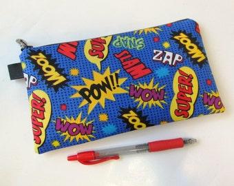 Handmade pencil bag with zipper - fun comics words - bright colors - makeup bag - storage bag - ready to ship