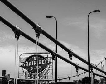 NEW, Grain Belt Beer sign, black and white, fine photo, Minneapolis,  wall art, home decor, Minnesota art, large wall art, urban, bridge art