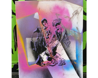 TLC street art painting music group original stencil and spray paint art by Rainbow Alternative