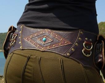 Leather Utility Belt | BROWN Hip Belt | Handmade Designer Pocket Belt | Fanny Pack | Urban Gypsy | Burning Man | Festival Fashion |
