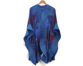 silk poncho with felted edges, blue red