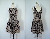 1970s mud cloth cotton print dress // black and brown tank day dress // small medium