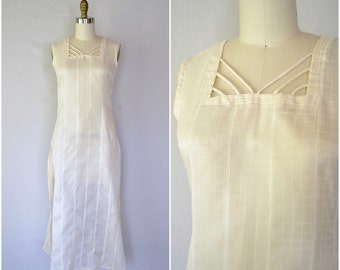 vintage sheer cream indian kameez / simple grid dress with slits / extra small xs