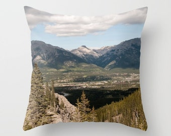 Decorative Cushion Case, Rocky Mountains in Canmore Alberta, Canadian Rockies Lake House Decor, Handmade Dorm Bedding Throw Pillow Covers