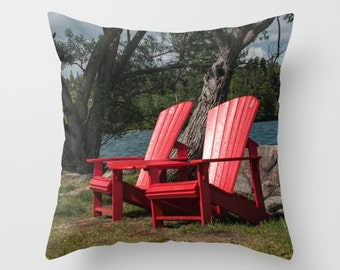 Picture Pillow Covers, Red Chair Photo Cushion Case, Coastal Lake House Chair Decor, Resort Lounge Accent, Green Cottage Chic Sofa Accent,