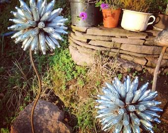 Charming Scrap Metal Flower, Garden Art, Yard Art, Allium Flower, Christmas Gift,