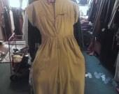 1940s/'50s Yellow Cororoy Dress, petite