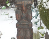 25 inch tall Large Flamed Swamp Hand Carved Cedar Wood Female / Fertility Goddess Tiki  ~ Witco / Witco Style ~ NW Estate