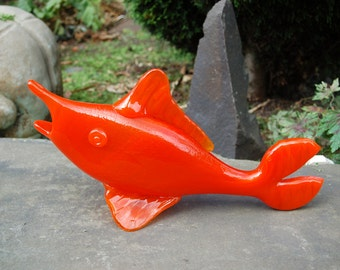 "Mid Century ""Rainbow"" Large Blown Art Glass, 14.5"" long, Brilliant Orange MARLIN Fish ~ Huntington, W.VA, Usa ~ Vintage Blenko, Viking Era"