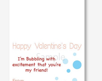 Bubble Valentine Bag Topper, Treat Bag Topper, Valentine's Day Card, Instant Printable Valentine