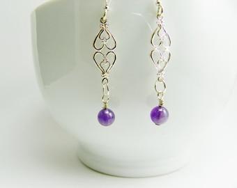 Natural Amethyst Sterling Silver Drop Earrings / Purple / Stone / Handmade