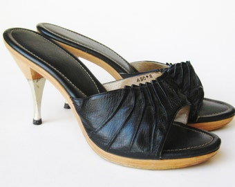 Vintage 50s Black Leather Wooden Polly High Heel Stiletto Shoes Mules size 8