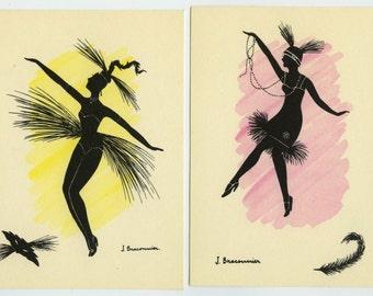 2 Vintage Charleston Dancers Silhouette Postcard French Artist 'Braconnier' ~ Unused 521