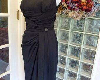 Vintage 50s Abe Schrader Dress Black Rayon Shirred Cumber Bun Wiggle Sleeveless Cocktail Dress S Small M Medium
