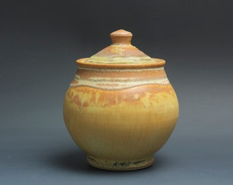 Handmade pottery sugar bowl storage jar tea caddy amber rust 3494