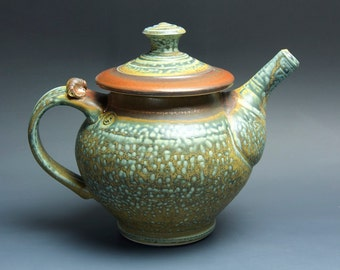 Handcrafted stoneware teapot 40 oz brick mottled blue green  teapot 3525