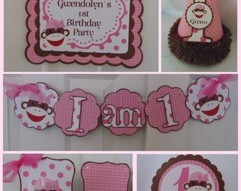 sock monkey 1st Birthday Party Package 1st birthday decorations,1st birthday , sock monkey banner