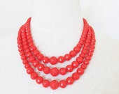 "Vintage Bright Red Layered Statement Necklace / 1960's Beaded Triple Strand Choker Jewelry Necklace ""Valentine's Day"""