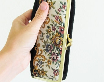 Vintage VICTORIAN ROSE Makeup Case / Double Mirror Eyeglass Container Made in Japan