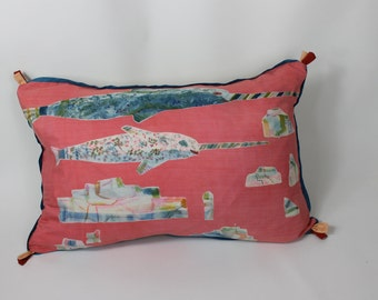 Pink hand painted silk Narwhal cushion