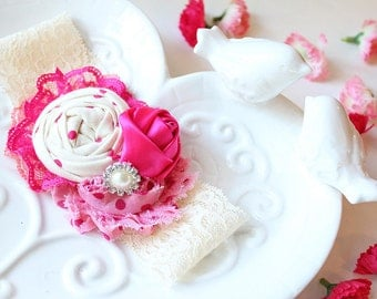 Pink Promenade- rosette, lace and chiffon flower headband in bright pink and coral