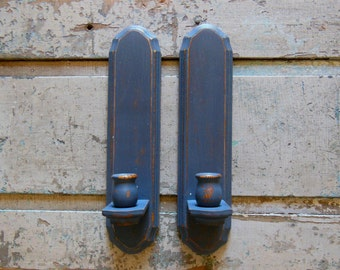 Set of 2 Gray Wall Sconces Wooden Distressed