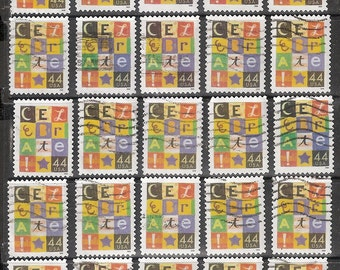 25 CELEBRATE! Used & Cancelled 44c U.S. Postage Stamps *Letters in Multi-colored Squares