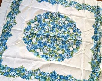 Vintage Tablecloth, Blue Tablecloth, Green Tablecloth, Fruit and Flower Tablecloth, Vintage Flower Tablecloth, Fruit Tablecloth