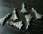 Destash (6) Christmas Tree Charms silver - for pendants, jewelry making, crafts, scrapbooking