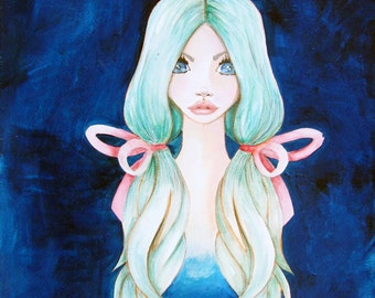 Giclee Fine Art Archival Print ~ Ethereal Blue ~ Mixed Media Art ~ By Kim Costello