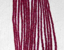 Ruby, Ruby Rondelle, Faceted Rondelle, Gemstone Rondelle, Color Enhanced, Semi Precious, Natural Stone, Graduated Beads, Half Strand, 3-5mm