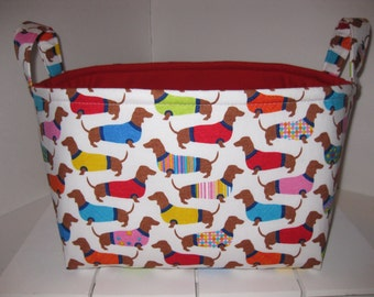 Large Diaper Caddy / Organizer Bin / Red Blue Green Yellow PInk Dachshund Dogs - Personalization Available
