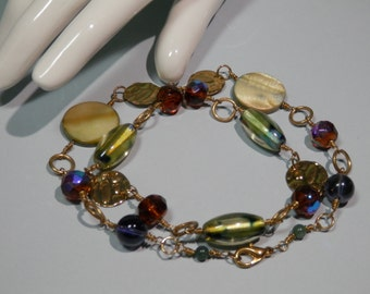 """15 1/2"""" Earth Tone Beaded Necklace Bracelet Combo Neutral Colors Amber Czech Marbled Lampwork Glass Green Abalone Shell Punch Metal Links"""